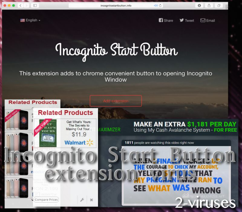 Incognito Start Button extension virus